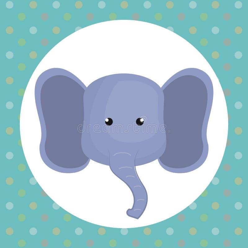 Carácter lindo de la oferta de la cabeza del elefante stock de ilustración