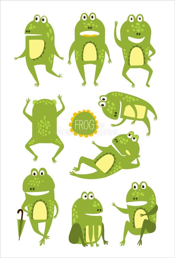 Carácter lindo de la rana en etiquetas engomadas infantiles de diversas actitudes ilustración del vector