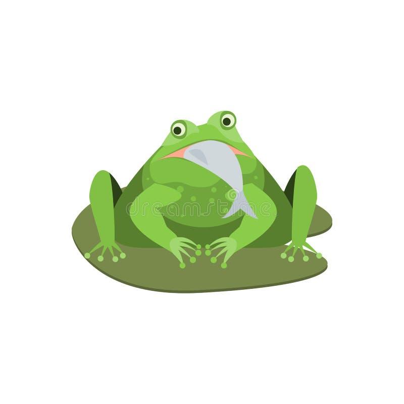 Carácter lindo de la rana verde de la historieta con los pescados Vector stock de ilustración