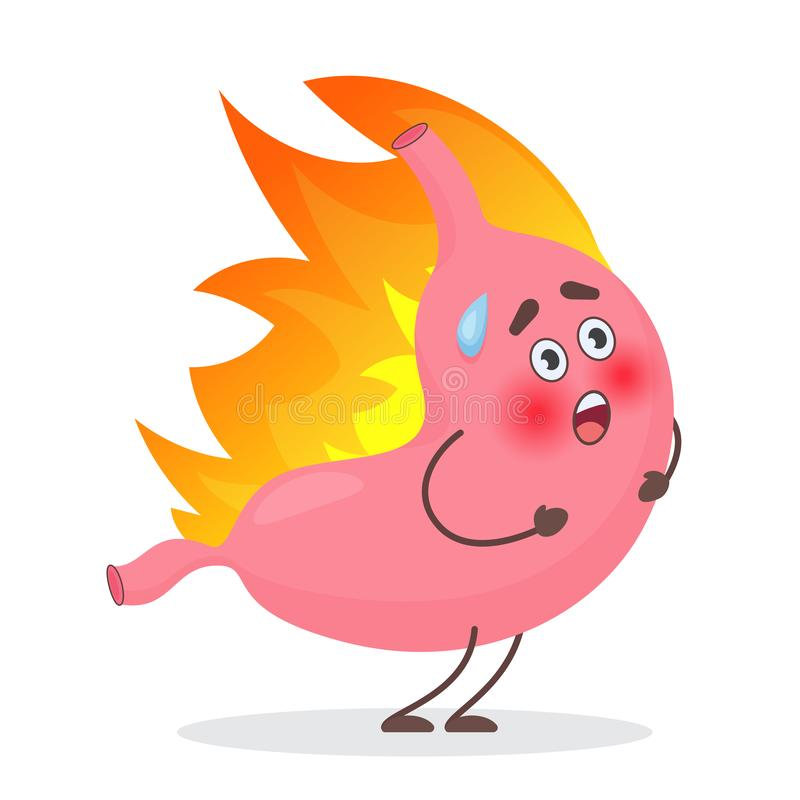 Carácter lindo de las emociones del estómago en fuego Gastritis y concepto del vector de los problemas del dolor del reflujo, de  stock de ilustración