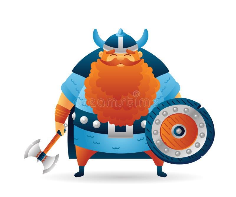 Carácter lindo de vikingo de la historieta con el escudo y el hacha stock de ilustración