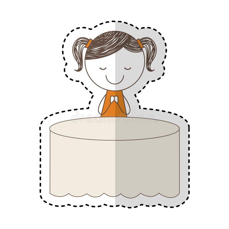 Carácter lindo del dibujo de la niña en la tabla ilustración del vector
