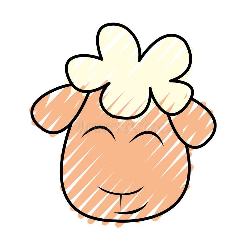 Carácter lindo del dibujo de las ovejas libre illustration
