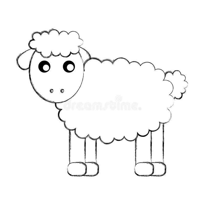 Carácter lindo del dibujo de las ovejas ilustración del vector
