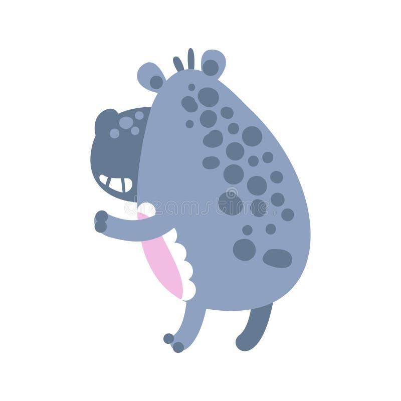 Carácter lindo del hipopótamo de la historieta que retrocede el ejemplo del vector de la visión stock de ilustración