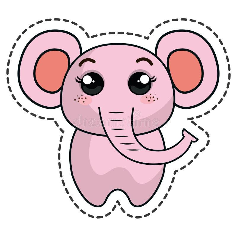 Carácter lindo del kawaii del elefante ilustración del vector