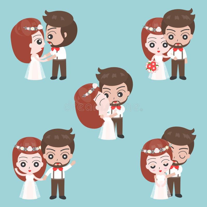Carácter lindo del novio y de la novia para el uso como casarse el coche de la invitación libre illustration