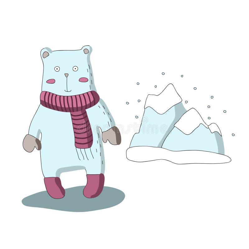 Carácter lindo del oso polar de la historieta con la bufanda y las montañas coronadas de nieve Ejemplo aislado vector en estilo s ilustración del vector