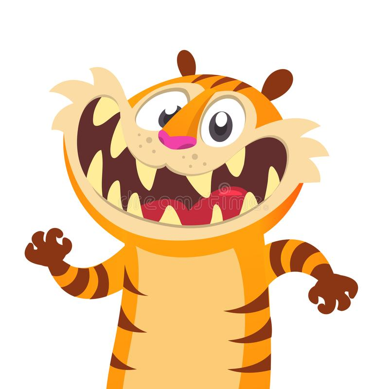 Carácter lindo del tigre de la historieta Colección del animal salvaje Madre y bebé en la educación de la sesión Aislado Fondo bl ilustración del vector