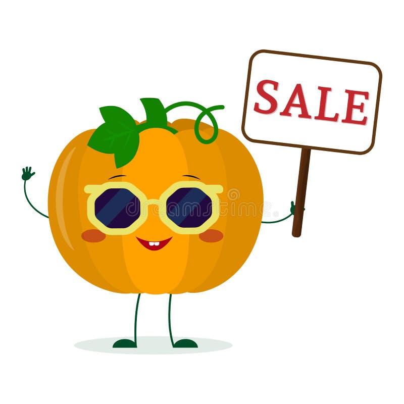 Carácter lindo del vegetablecartoon de la calabaza de Kawaii en las gafas de sol que llevan a cabo una muestra de la venta Logoti libre illustration