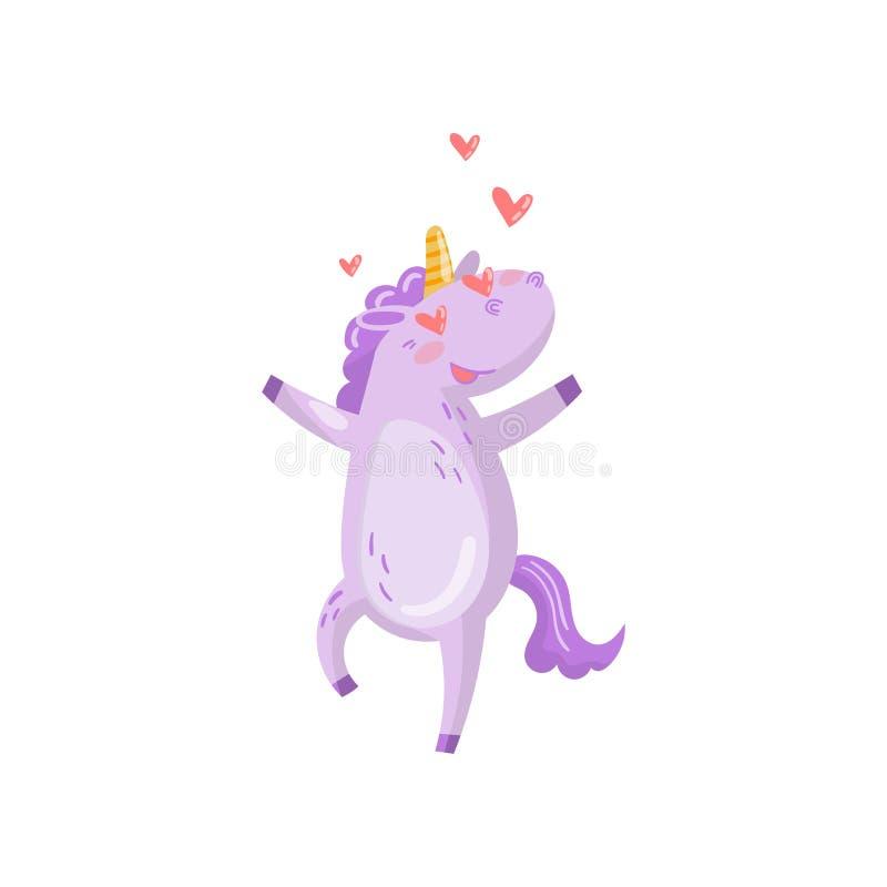 Carácter lindo en amor con los corazones en sus ojos, ejemplo animal mágico divertido del unicornio del vector de la historieta stock de ilustración