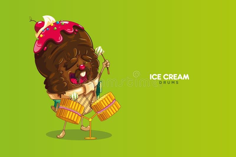 Carácter lindo y de la diversión de chocolate del helado con la salsa de la fresa y de la cereza Estrella del rock dulce imagen de archivo libre de regalías