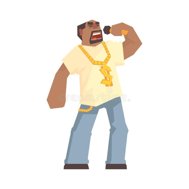 Carácter masculino africano del cantante que sostiene un micrófono, golpeador del hip-hop stock de ilustración