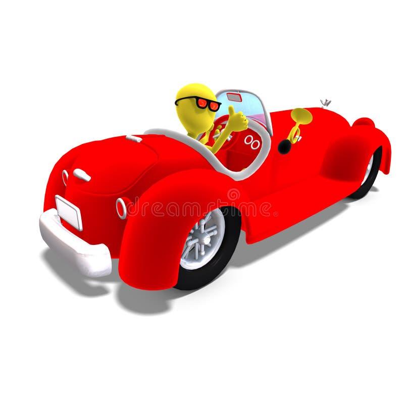 carácter masculino de Toon del icono 3d que conduce un coche enorme ilustración del vector