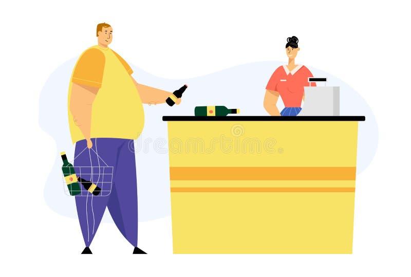 Carácter masculino del cliente con las botellas del alcohol en la paga de la cesta de compras para las compras en el cajero Desk ilustración del vector