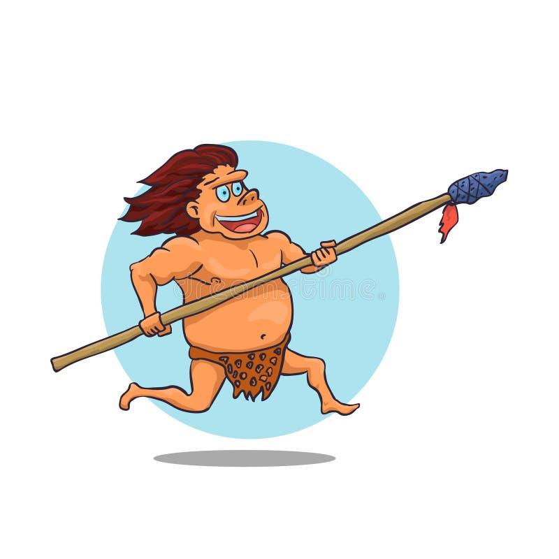 Carácter masculino del hombre de las cavernas de la historieta con la lanza Vector stock de ilustración