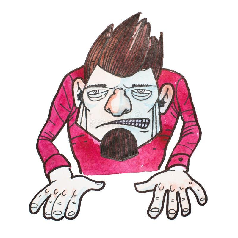 Carácter masculino del malvado de la historieta con gruñir irritado enojado de la cara dibujado libre illustration