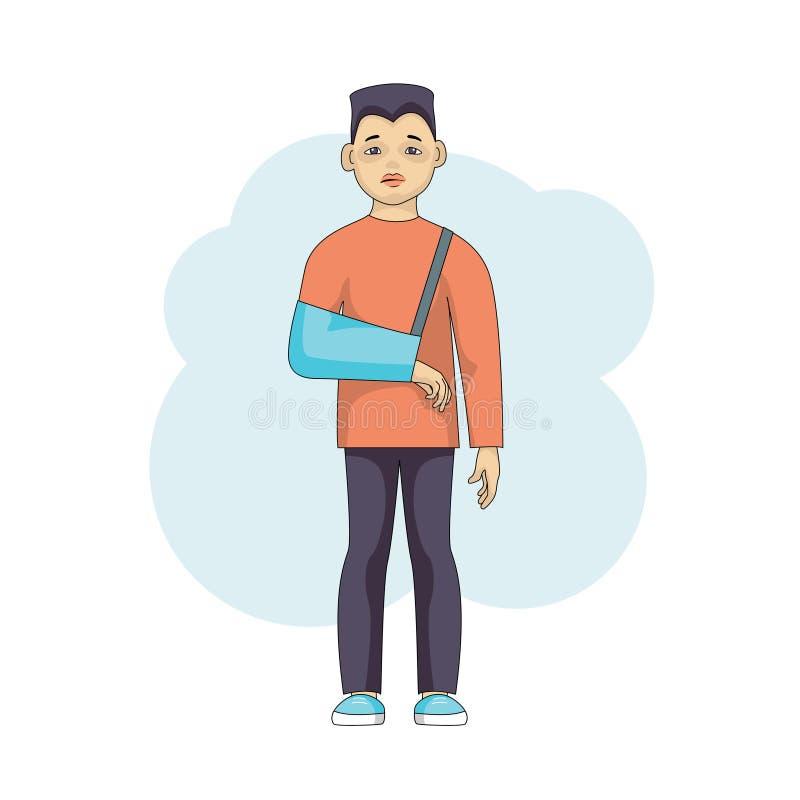 Carácter masculino joven con un brazo herido en el yeso aislado stock de ilustración