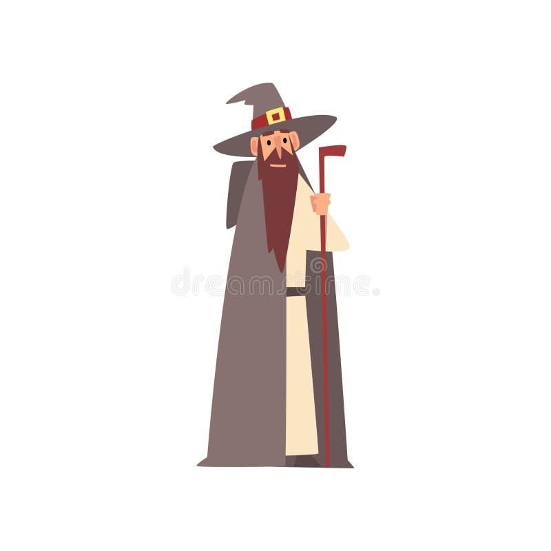 Car?cter medieval del mago, capa que lleva del hombre y sombrero acentuado con el ejemplo m?gico del vector del personal stock de ilustración