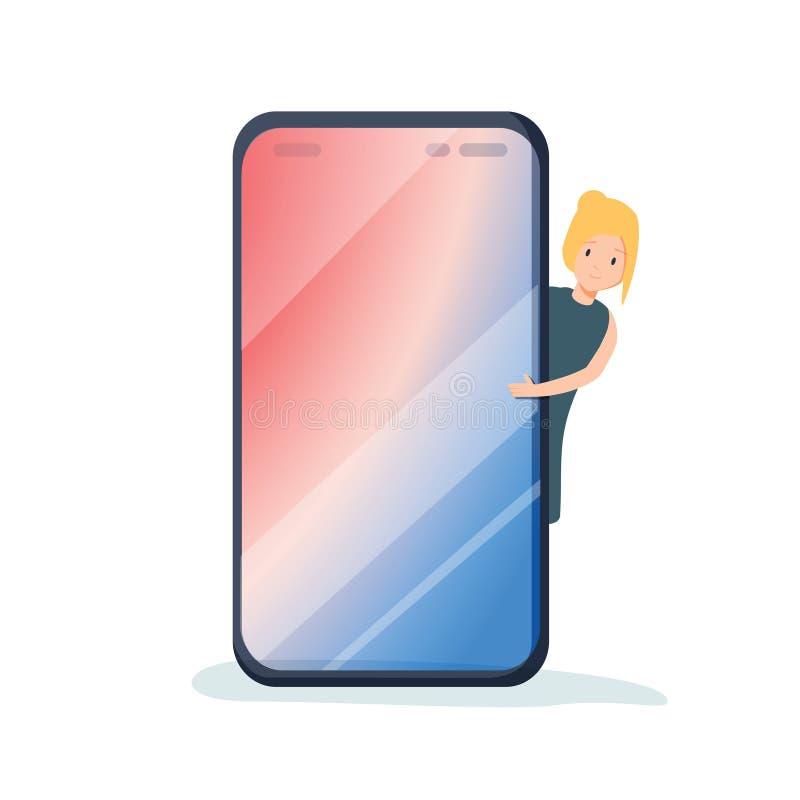 Carácter milenario femenino que mira furtivamente hacia fuera de detrás el teléfono móvil Su texto aquí modelo Pantalla elegante  ilustración del vector