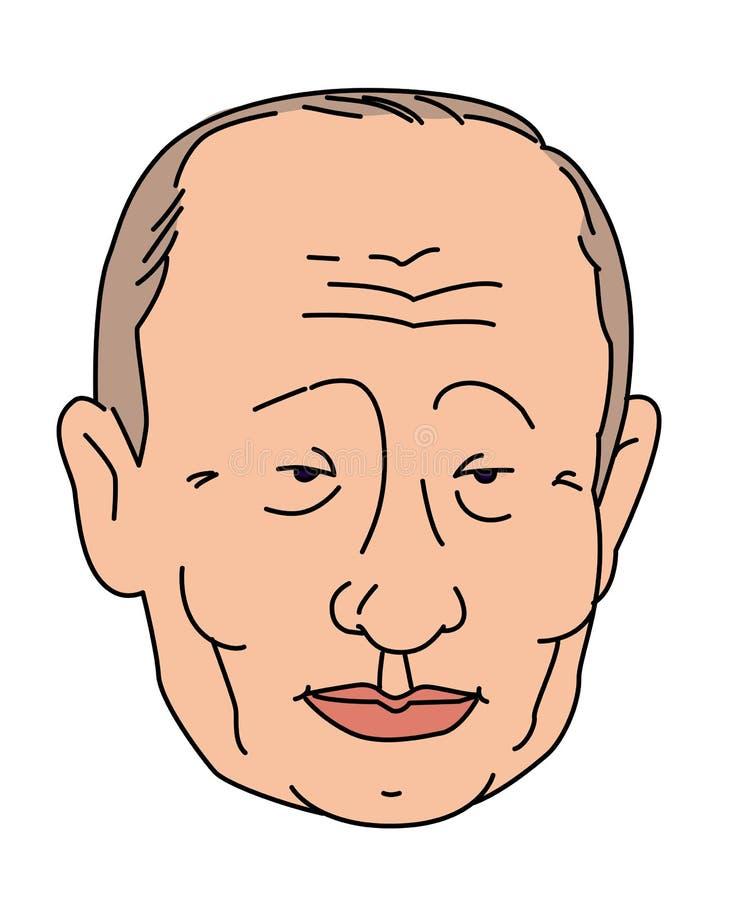 Carácter mongol, asiático Vector Ejemplo principal Estilo plano Logo Presidente Putin Caricatura de un político ilustración del vector