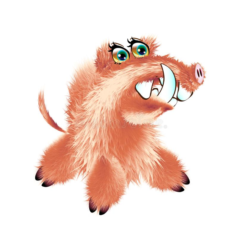 Carácter mullido lindo del jabalí o del facoquero Ejemplo con el cerdo que se sienta Habitante del bosque en estilo de la histori ilustración del vector