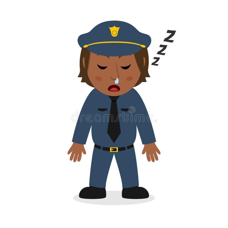 Carácter negro de la mujer policía el dormir stock de ilustración