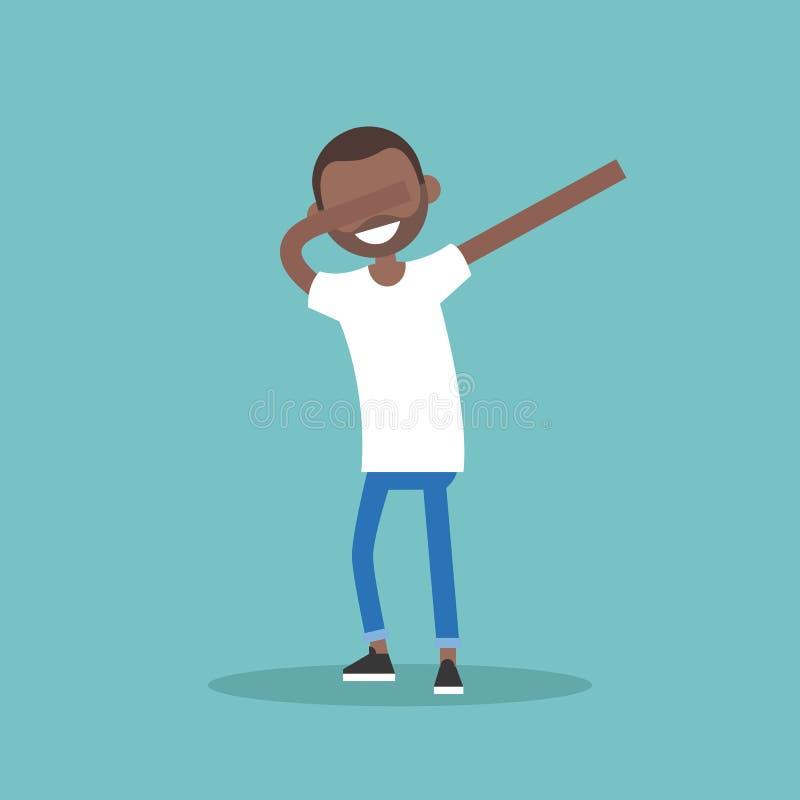 Carácter negro joven que hace danza del LENGUADO el vector editable plano IL stock de ilustración