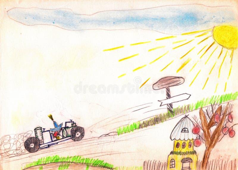 Carácter Neznayka del guión en el coche, yendo ascendente El sol amarillo, cielo azul, pequeña casa, camino canta Gráfico de un p stock de ilustración