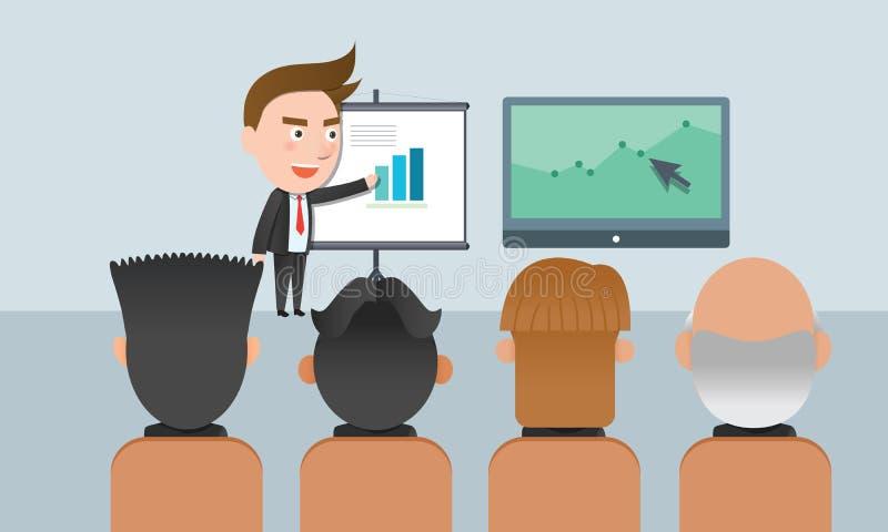 Carácter plano del concepto de la presentación de la corporación stock de ilustración