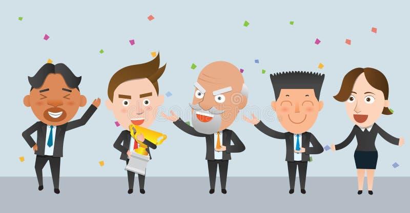 Carácter plano del concepto de los ganadores de la corporación stock de ilustración
