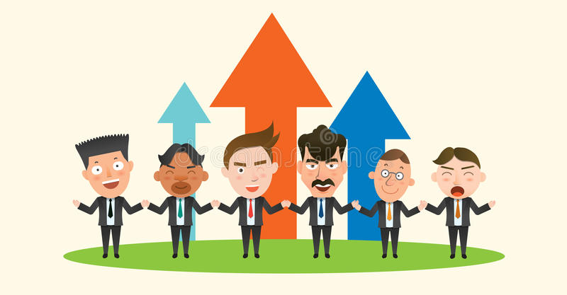 Carácter plano del concepto del trabajo en equipo de la corporación stock de ilustración