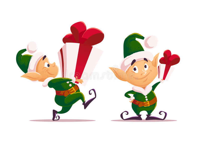 Carácter plano del duende de Papá Noel de la Navidad del vector libre illustration