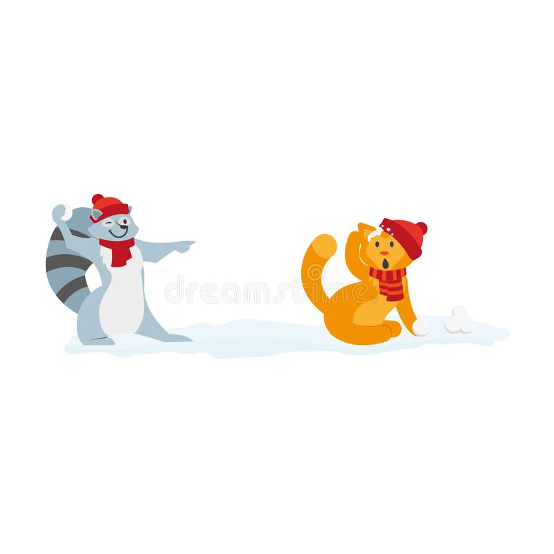 Carácter plano del mapache del gato del vector que juega iceballs ilustración del vector