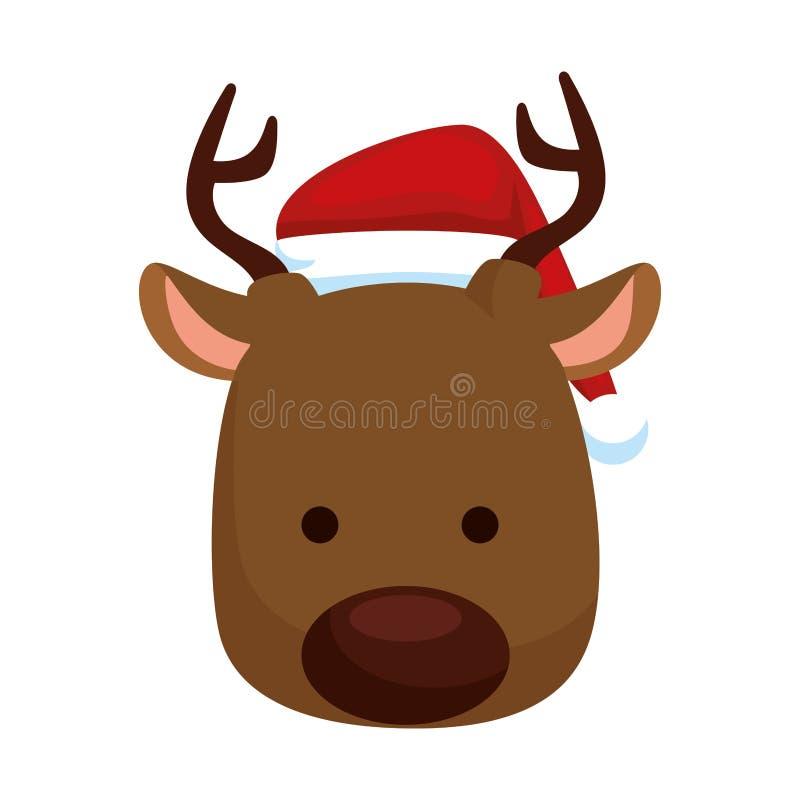Carácter principal de la Navidad del reno lindo ilustración del vector