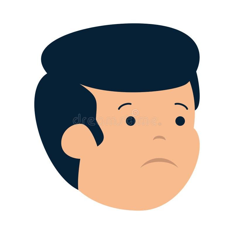 Carácter principal del hombre triste joven stock de ilustración