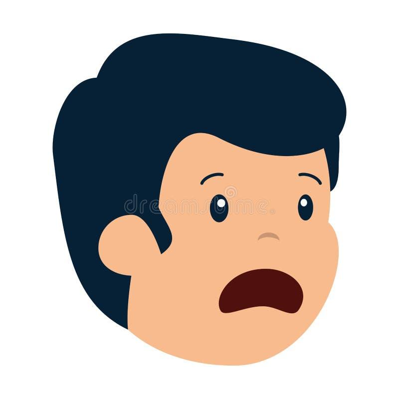 Carácter principal del hombre triste joven ilustración del vector