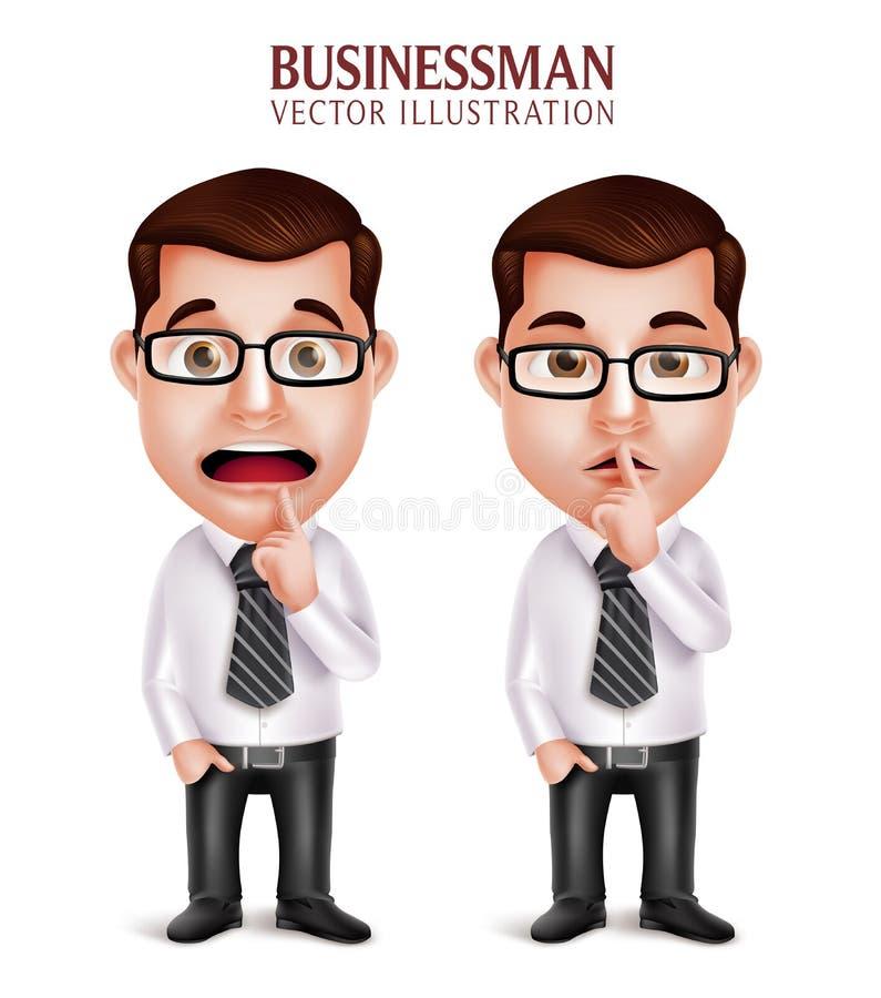 Carácter profesional del hombre de negocios en gesto silencioso y preocupante ilustración del vector