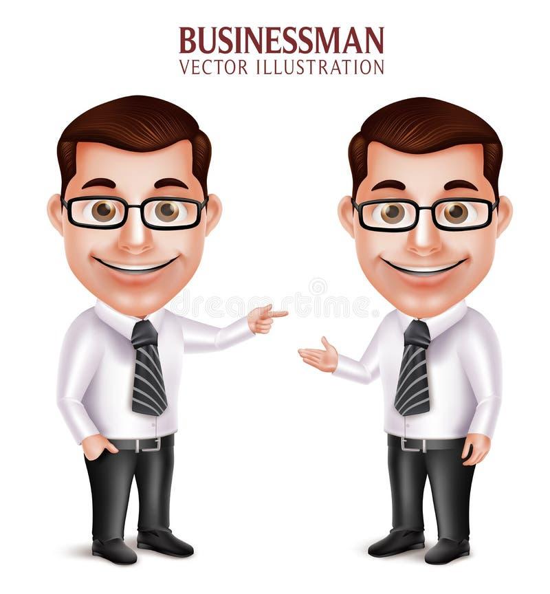 Carácter profesional realista del hombre de negocios que señala y que presenta ilustración del vector