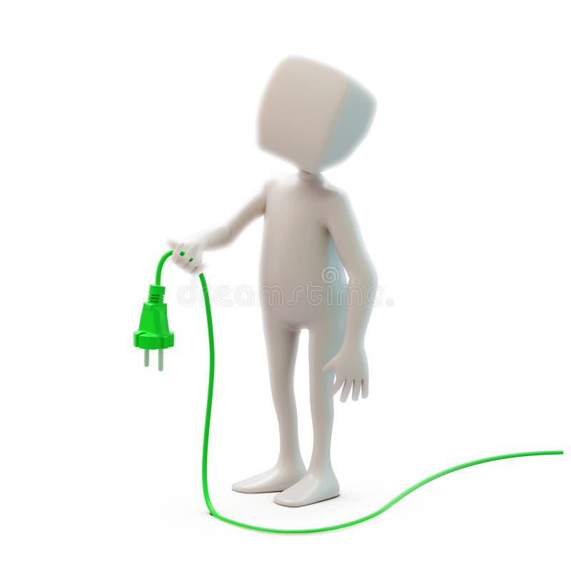 Carácter que sostiene un cable libre illustration