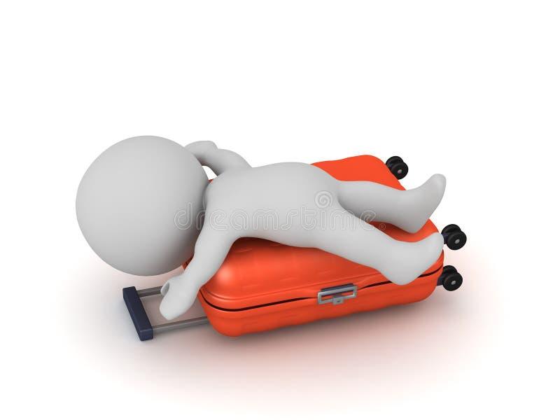 Carácter que viaja cansado 3D con equipaje stock de ilustración