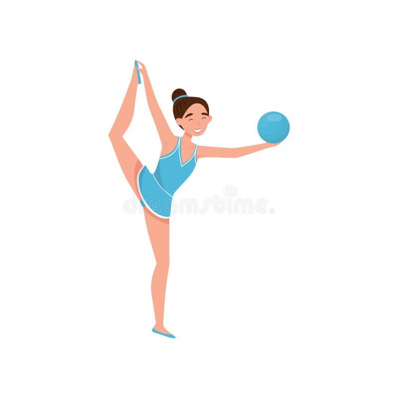 Carácter rítmico de la muchacha de la gimnasia profesional que ejercita con la bola, ejemplo activo del vector del concepto de la ilustración del vector