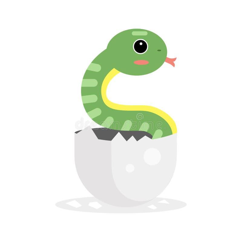 Carácter recién nacido lindo de la serpiente verde, reptil divertido en el ejemplo de la historieta del huevo ilustración del vector