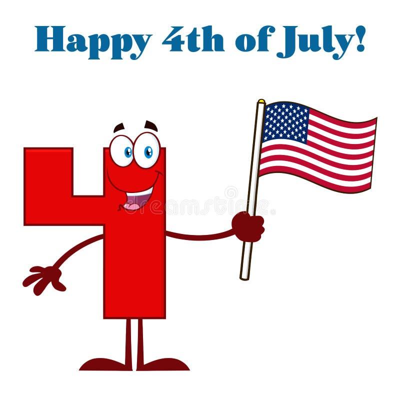 Carácter rojo de la mascota de la historieta del número cuatro que agita una bandera americana libre illustration
