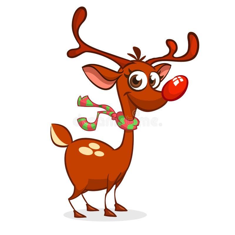 Carácter rojo de Rudolph del reno de la nariz de la historieta divertida Ilustración del vector de la Navidad libre illustration