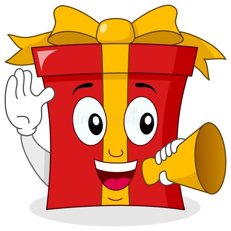 Carácter rojo del regalo que sostiene un megáfono ilustración del vector