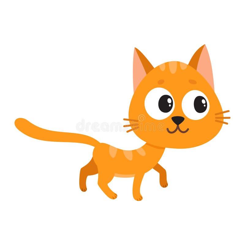 Carácter rojo lindo y divertido del gato, curioso, juguetón, dañoso ilustración del vector