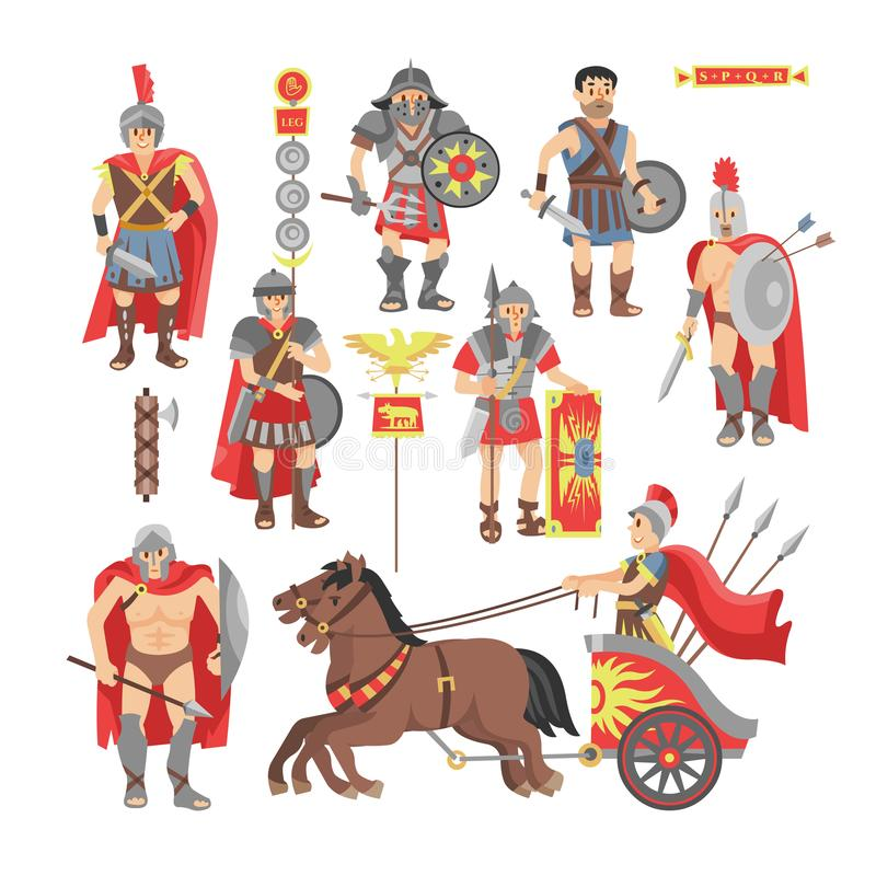 Carácter romano del hombre del guerrero del vector del gladiador en armadura con la espada o arma y escudo en el ejemplo antiguo  ilustración del vector