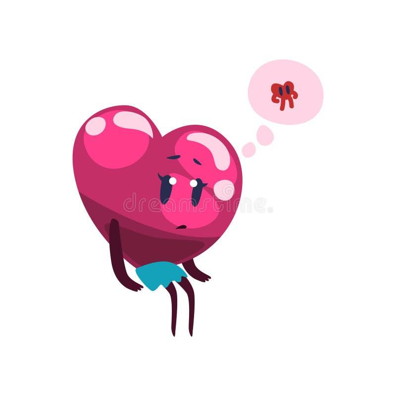 Carácter rosado lindo que sueña sobre el novio que ella ama, vector feliz del corazón de la historieta del concepto de día de fotos de archivo
