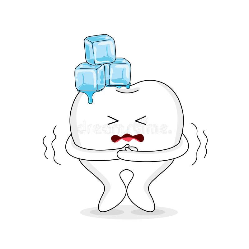 Carácter sensible del tootth de la historieta linda con hielo ilustración del vector